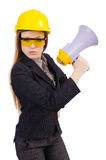 Female construction worker with loudspeaker Stock Photography