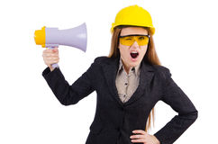Female construction worker with loudspeaker isolated Royalty Free Stock Photos