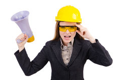 Female construction worker with loudspeaker isolated Royalty Free Stock Images