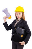 Female construction worker with loudspeaker isolated Stock Photo