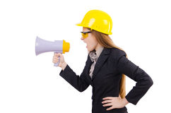 Female construction worker with loudspeaker isolated Royalty Free Stock Photo