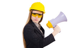 Female construction worker with loudspeaker isolated Stock Photos