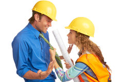 Female Construction Worker Mad At Architect Stock Images