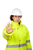 Female construction worker saying stop Royalty Free Stock Photos