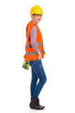 Female Construction Worker Side View Royalty Free Stock Images