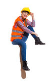Female Construction Worker Sitting Relaxed In Sunlight Royalty Free Stock Photo