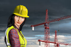 Female construction worker royalty free illustration