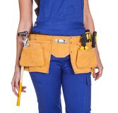 Female Construction Worker With Toolbelt Stock Photography