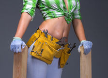 Female Construction Worker With Toolbelt.  On White. Female Construction Worker With Toolbelt. Close up view Stock Photos