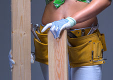 Female Construction Worker With Toolbelt.  On White. Female Construction Worker With Toolbelt. Close up view Royalty Free Stock Photos