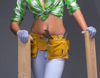 Female Construction Worker With Toolbelt.  On White. Female Construction Worker With Toolbelt. Close up view Royalty Free Stock Image