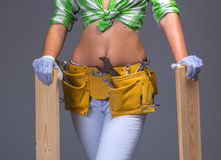 Female Construction Worker With Toolbelt.  On White. Female Construction Worker With Toolbelt. Close up view Royalty Free Stock Photography