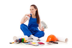 Female construction worker. Stock Image