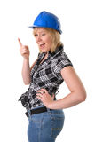 Female construction worker winking Stock Photo