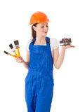Female construction worker. Stock Images