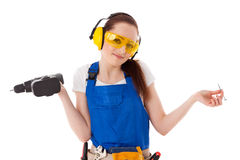 Female construction worker. Royalty Free Stock Photography