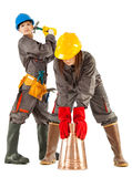 Female construction workers Stock Photo