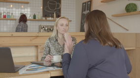 Female consultant communicating with client in cafe. Female professional financial advisor consulting businesswoman on tax matters during meeting in cafeteria stock footage