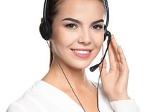 Female consulting manager with headset. On white background stock image