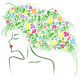 Female contour with colourful floral elements Stock Photo