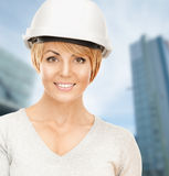 Female contractor in helmet Stock Photo