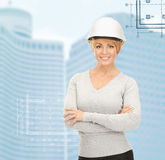 Female contractor in helmet Royalty Free Stock Image