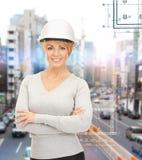 Female contractor in helmet Stock Photography