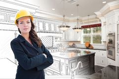 Female Contractor Over Kitchen Drawing Gradating to Photo. Graph stock photo