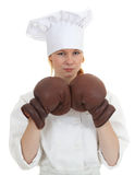 Female cook with boxing gloves Stock Photography