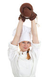 Female cook with boxing gloves Royalty Free Stock Images