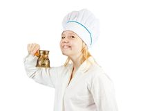 Female cook with cezve royalty free stock photo