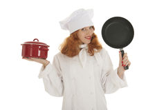 Female cook chef with pots and pans. Female cook chef with red hair and pots and pans over white background stock photos