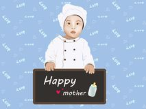 Female cook Children. Vector illustration of a cook holding a Happy Mother's Day Stock Image