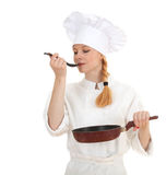 Female cook keeping frying pan Stock Image
