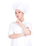 Female cook keeping silent Stock Image