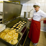 Female cook in kitchen royalty free stock images