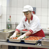 Female cook making salad. A female cook working in a restaurant kitchen, making vegetable salad royalty free stock photo