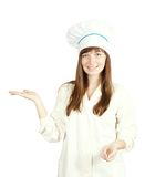 Female cook is pointing Stock Photos