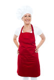 Female cook posing with hands on her waist Stock Photos