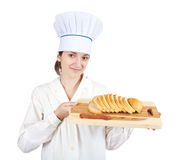 Female cook with  slice bread Stock Photo