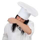 Female cook with snotty, runny nose Royalty Free Stock Images