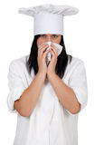 Female cook with snotty, runny nose Royalty Free Stock Photo