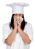 Female cook with snotty, runny nose Royalty Free Stock Image