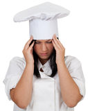 Female cook suffering from pain Royalty Free Stock Image