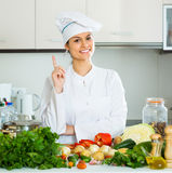 Female cook vegetarian meal Royalty Free Stock Photos