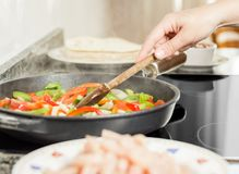 Female cooking vegetables and chicken in pan royalty free stock photos