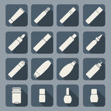 Female cosmetic and hygiene beauty treatment product packages icon set  illustration Royalty Free Stock Image