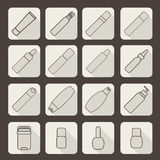 Female cosmetic and hygiene beauty treatment product packages icon set vector illustration Stock Photo