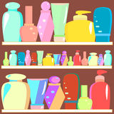 Female cosmetic. And hygiene beauty treatment product packages on shelves vector illustration Stock Photo