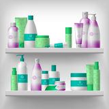 Female cosmetic on shelves Royalty Free Stock Images